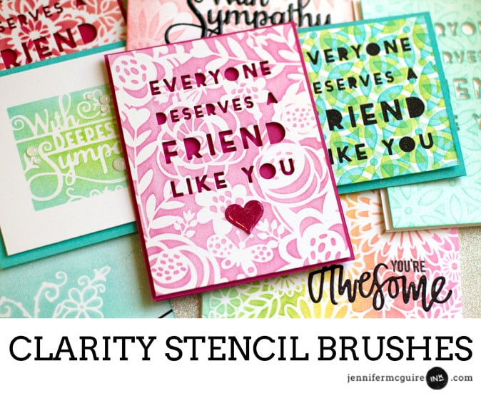 Clarity Stencil Brushes Video by Jennifer McGuire Ink