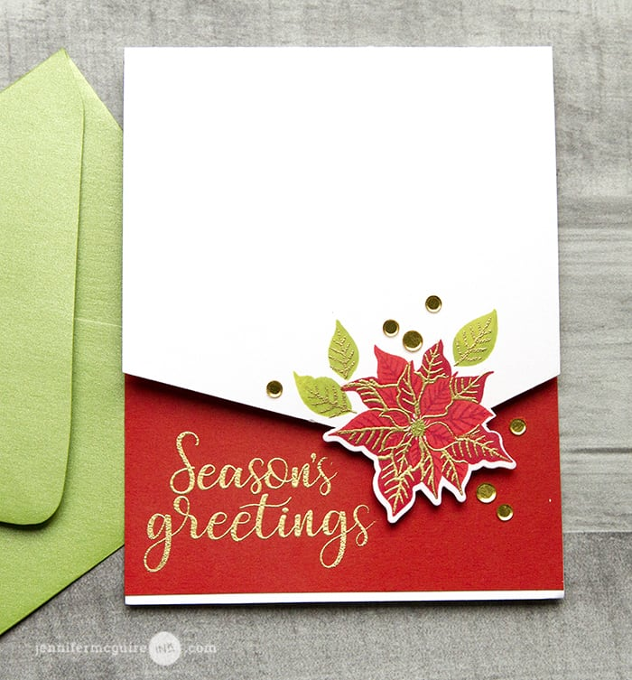 Creative partial die cutting jennifer mcguire ink inside of the card i added red cardstock and heat embossed the sunny studio festive greetings sss sun sentiment so it shows when it is closed too m4hsunfo