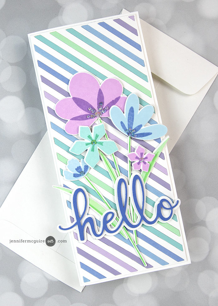 Handmade Die Cut Yellow and Purple Flowers Stamped Encouragement Card Hello Card Friendship Card Designer Papers Purple Stripes